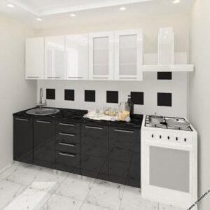 """Кухня """"Лена"""" черно-белая с фасадами из глянцевых панелей МДФ (High Gloss)"""