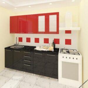 """Кухня """"Лена"""" черно-красная с фасадами из глянцевых панелей МДФ (High Gloss)"""