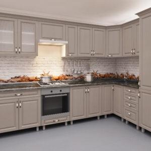 Угловая кухня 3,4х1,7м с фасадами из панелей МДФ (плёнка)