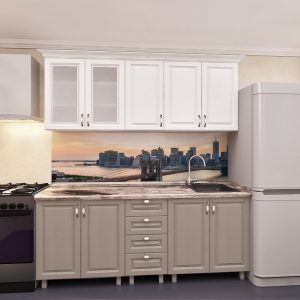 """Кухня """"Лена"""" 2.0м с фасадами из МДФ(плёнка) с стеклом"""