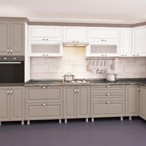 Угловая кухня ЭКО 4,1х0,9м с фасадами из панелей МДФ (плёнка)