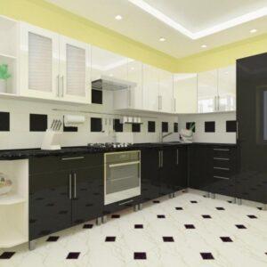 Угловая кухня черно-белая 3,4м х 1,7м с фасадами из глянцевых панелей МДФ (High Gloss)