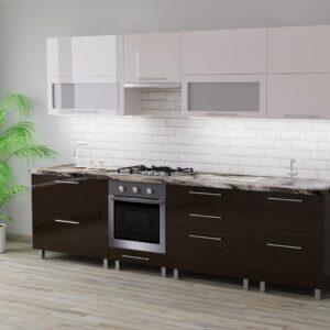 Кухня Blum 2,8м с фасадами из глянцевых панелей МДФ (High Gloss)