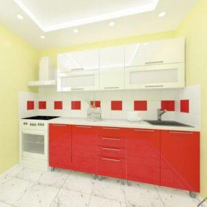 "Кухня ""Лена"" 2.0м ВВЕРХ  горизонтальная с фасадами из глянцевых панелей МДФ (High Gloss)"