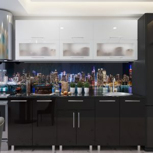 "Кухня ""Модерн"" Стекло 2.2м  с фасадами из глянцевых панелей МДФ (High Gloss)"