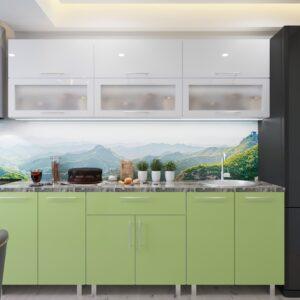 "Кухня ""Модерн"" Стекло 2.4м  с фасадами из глянцевых панелей МДФ (High Gloss)"