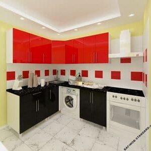 Угловая кухня 1,8м х 1,8м черно-красная с фасадами из глянцевых панелей МДФ (High Gloss)