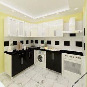 Угловая кухня 1,8м х 1,8м черно-белая с фасадами из глянцевых панелей МДФ (High Gloss)