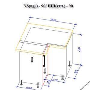 Нижний кухонный шкаф NS(ugl)-90