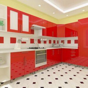 Угловая кухня красно-красная 3,4м х 1,7м с фасадами из глянцевых панелей МДФ (High Gloss)