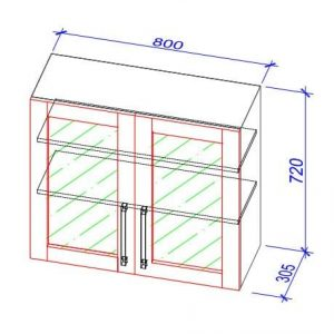 Верхний кухонный шкаф VS-80b/ВШ-80б