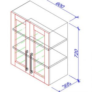 Верхний кухонный шкаф VS-60 b /ВШ-60 Б