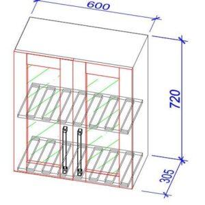 Верхний кухонный шкаф VSV(s)-60b/ВШ(c)-60б