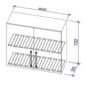 Верхний кухонный шкаф VS(s)-80/ВШ(с)-80