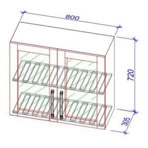 Верхний кухонный шкаф VS(s)-80b/ВШ(с)-80б