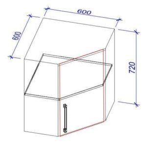 Верхний кухонный шкаф VS(ugl)-60/ВШ(угл)-60